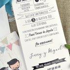Hochzeitseinladung Vintage Braut und Bräutigam Cardnovel 39631 Text