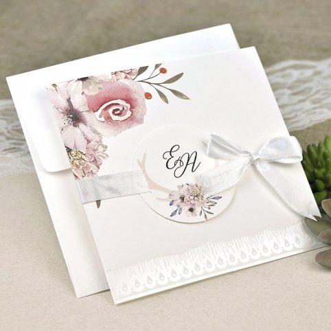 Invito a nozze rose e petali in rilievo Cardnovel 39632