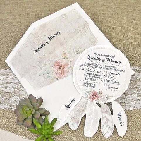 39633 Dream catcher wedding invitation Cardnovel 39633