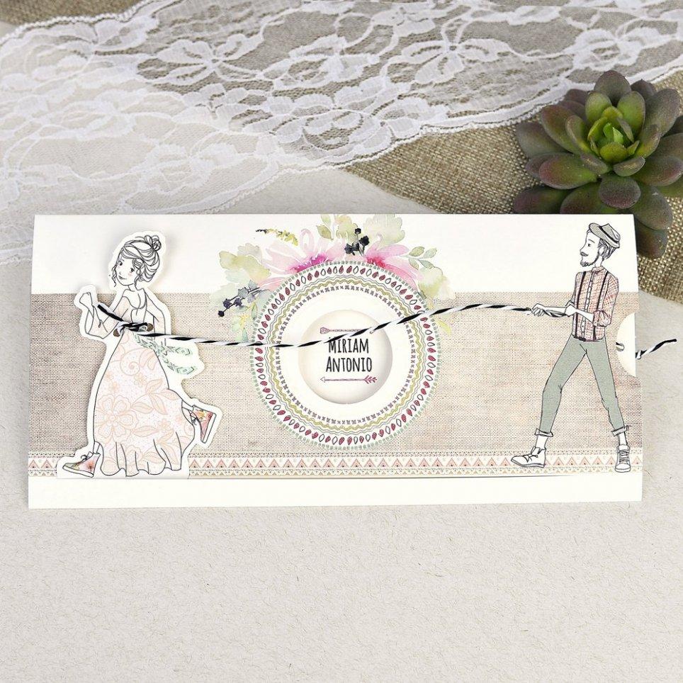 Invitación de boda novios cuerda Cardnovel 39634