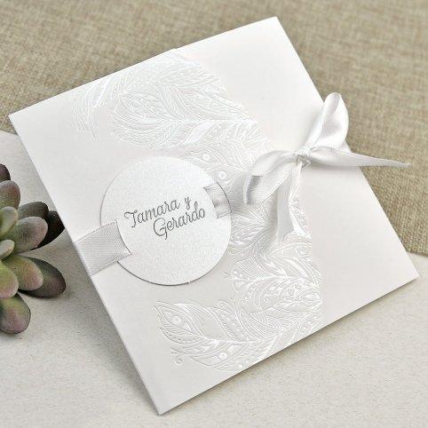 Invitación de boda hojas nacaradas Cardnovel 39635