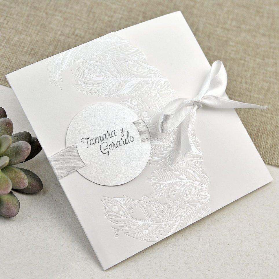 Hochzeitseinladung perlmutt Blätter Cardnovel 39635