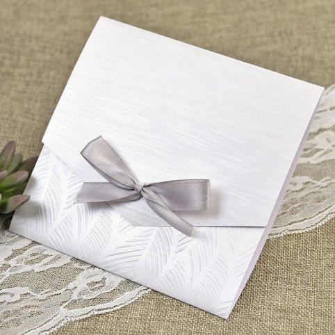 Invitación de boda nácar y lazo Cardnovel 39636 interior