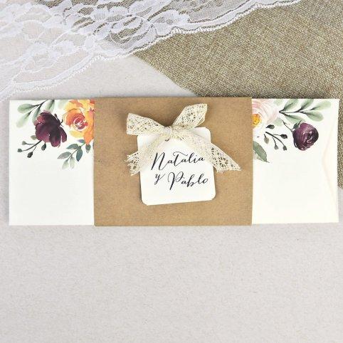 Invitación de boda semisobre con kraft Cardnovel 39637