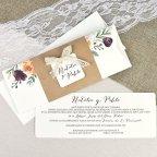Semi-open wedding invitation with kraft Cardnovel 39637 interior
