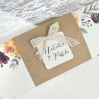 Semi-open wedding invitation with kraft Cardnovel 39637 detail