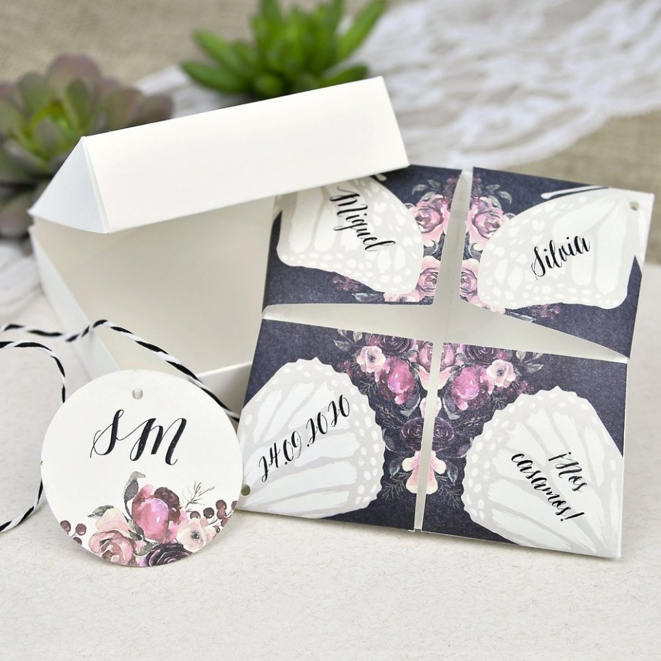 Hochzeitseinladung Comecocos Butterfly Cardnovel 39638