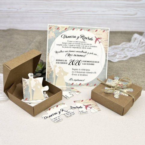 Quebra-cabeça de convite de casamento noivos Cardnovel 39639