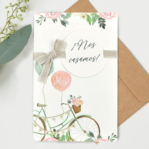 Invitación de boda Mr & Mrs bicicleta, Cardnovel 39736