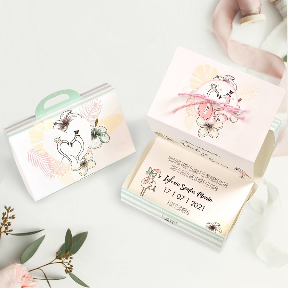 Flamingos Hochzeitseinladung und Box, Cardnovel 39745