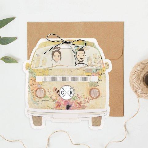Invitación de boda viaja en furgoneta, Cardnovel 39711