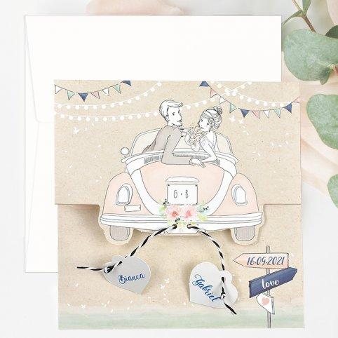 Invitación de boda en coche al corazón, Cardnovel 39700