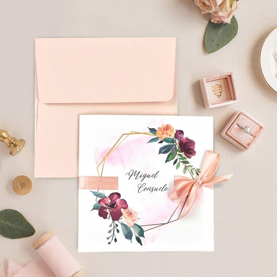Invitación de boda lazo y rosas, Cardnovel 39708