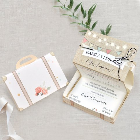 Wedding Invitation Suitcase and Bicycle, Cardnovel 39719