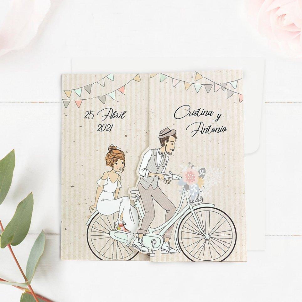 Hochzeitseinladungskinder auf dem Fahrrad, Cardnovel 39714