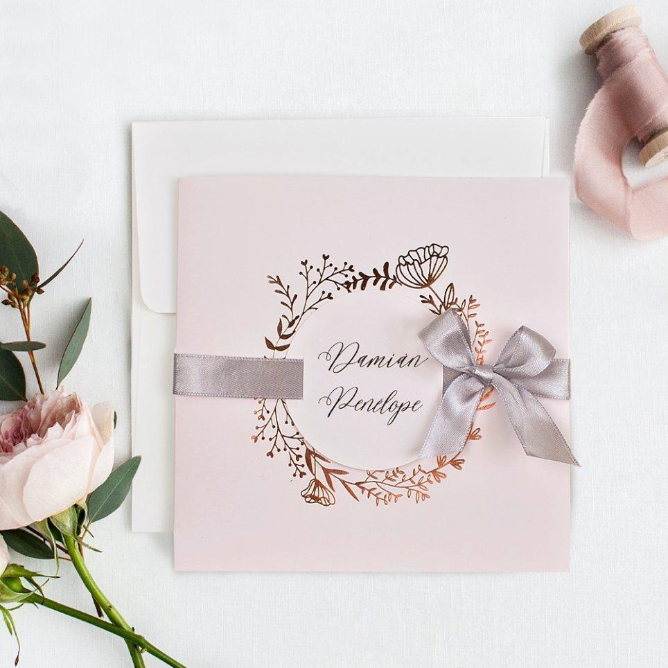 Rosa und kupferne Hochzeitseinladung, Cardnovel 39716