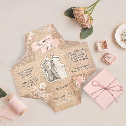 Invitación de boda caja y trajes, Cardnovel 39720