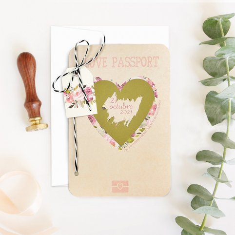 Invitación de boda pasaporte con rasca, Cardnovel 39701