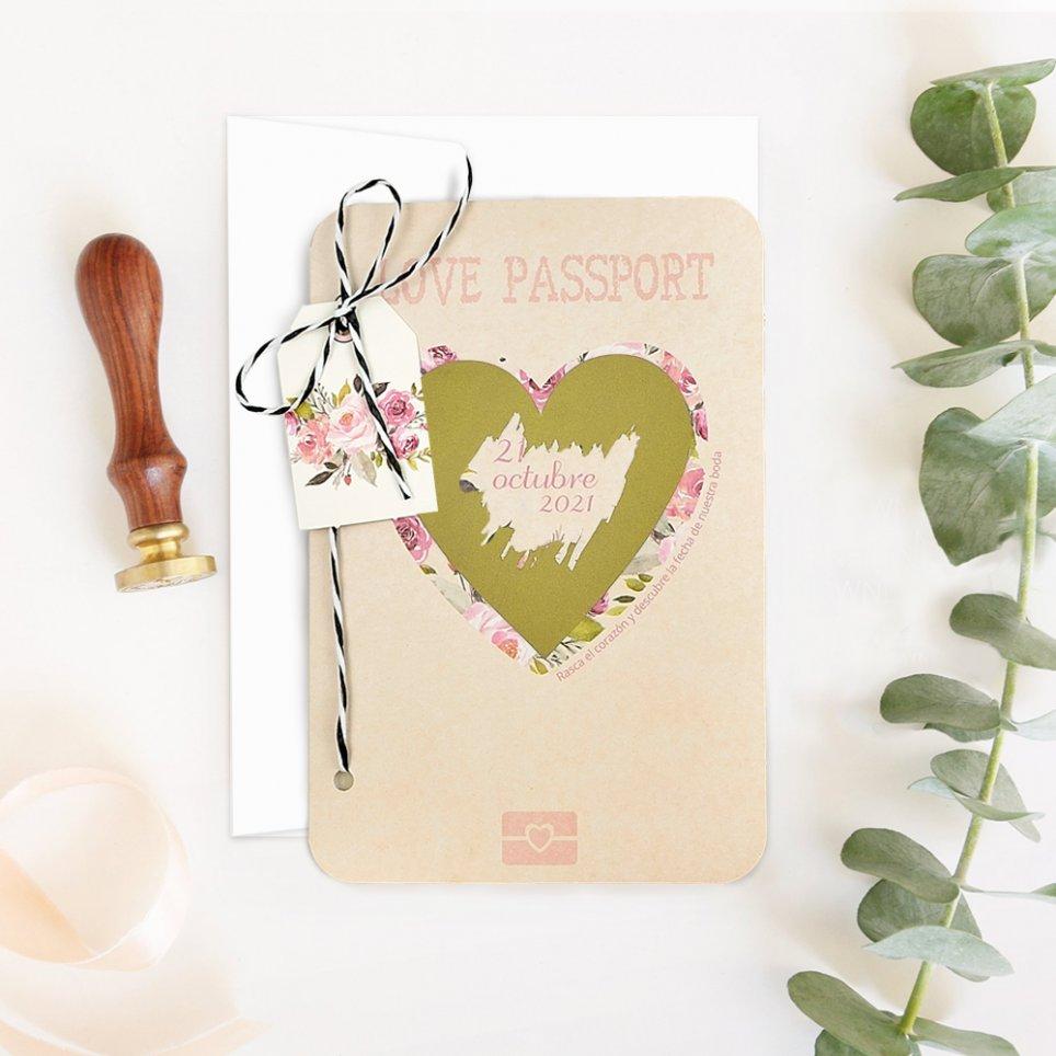 Invito a nozze passaporto con graffio, Cardnovel 39701