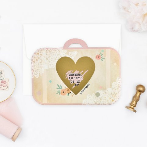 Invitación de boda maleta con rasca, Cardnovel 39710