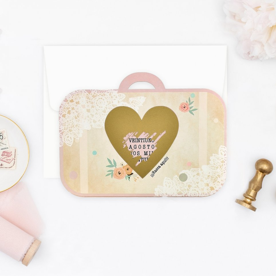 Wedding Invitation Suitcase with Scratch, Cardnovel 39710