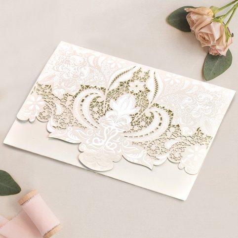 Partecipazione a nozze in pizzo e rilievo, Cardnovel 39750