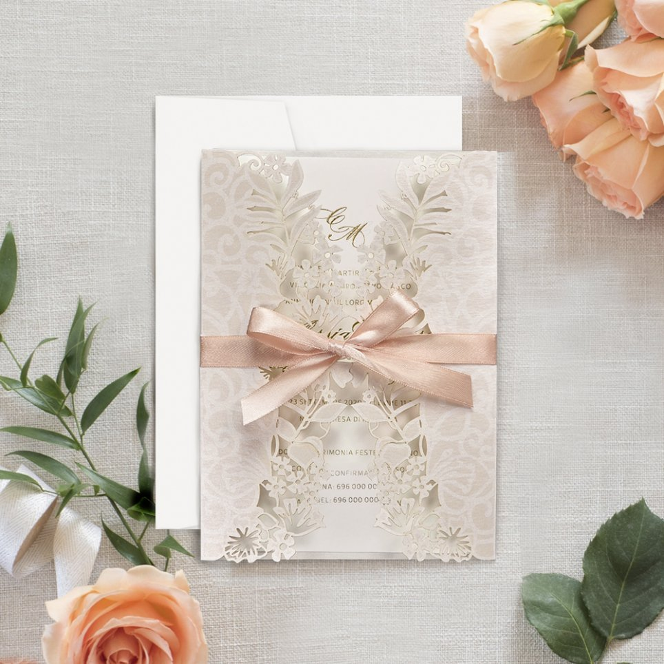 Invitación de boda flores en láser, Cardnovel 39707