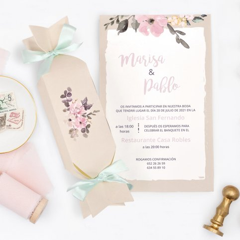 Beige Süßigkeiten Hochzeitseinladung, Cardnovel 39726