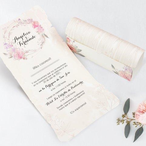 Invitación de boda cofre con pergamino, Cardnovel 39712