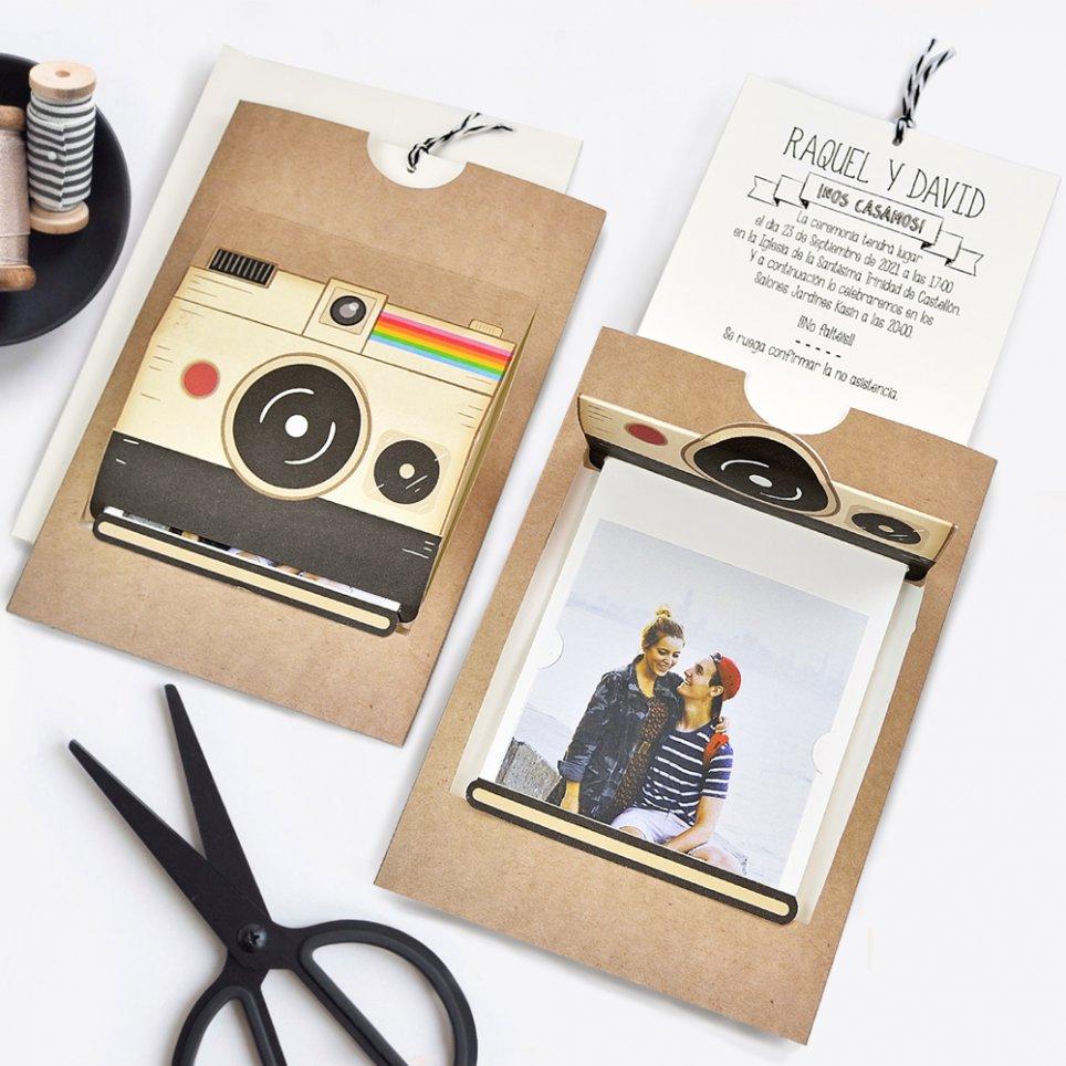 Invitación de boda cámara de fotos, Cardnovel 39715