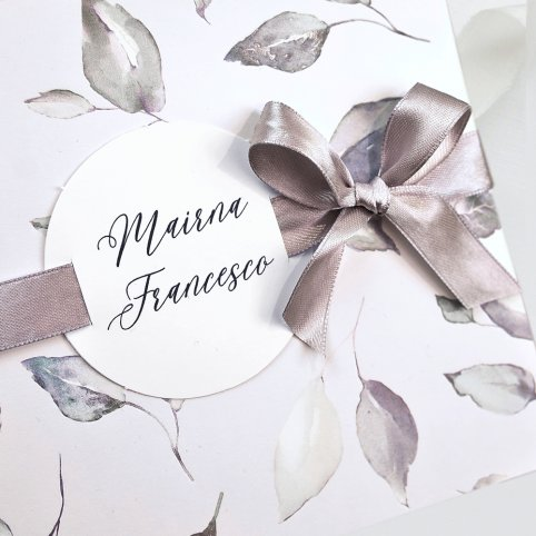 Invitación de boda hojas y lazo, Cardnovel 39729