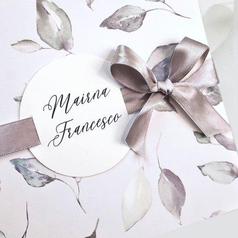 Invito a nozze foglie e fiocco, Cardnovel 39729