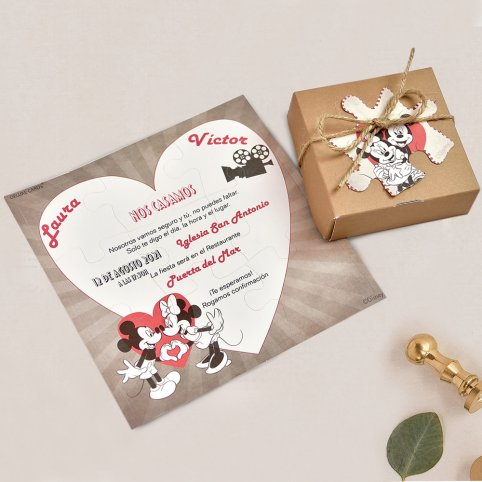 Invitación de boda puzle Mickey y Minnie, Cardnovel 39738