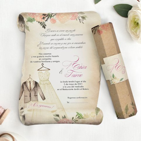 Parchment Wedding Invitation and Costumes, Cardnovel 39744