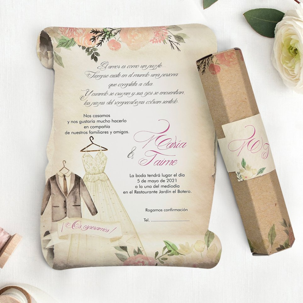 Invitación de boda pergamino y trajes, Cardnovel 39744