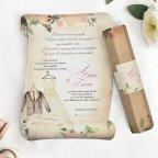 Pergamena e abiti per invito a nozze, Cardnovel 39744