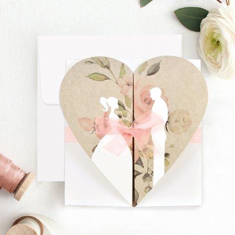Hochzeitseinladung Braut und Bräutigam mit Herz, Cardnovel 39705