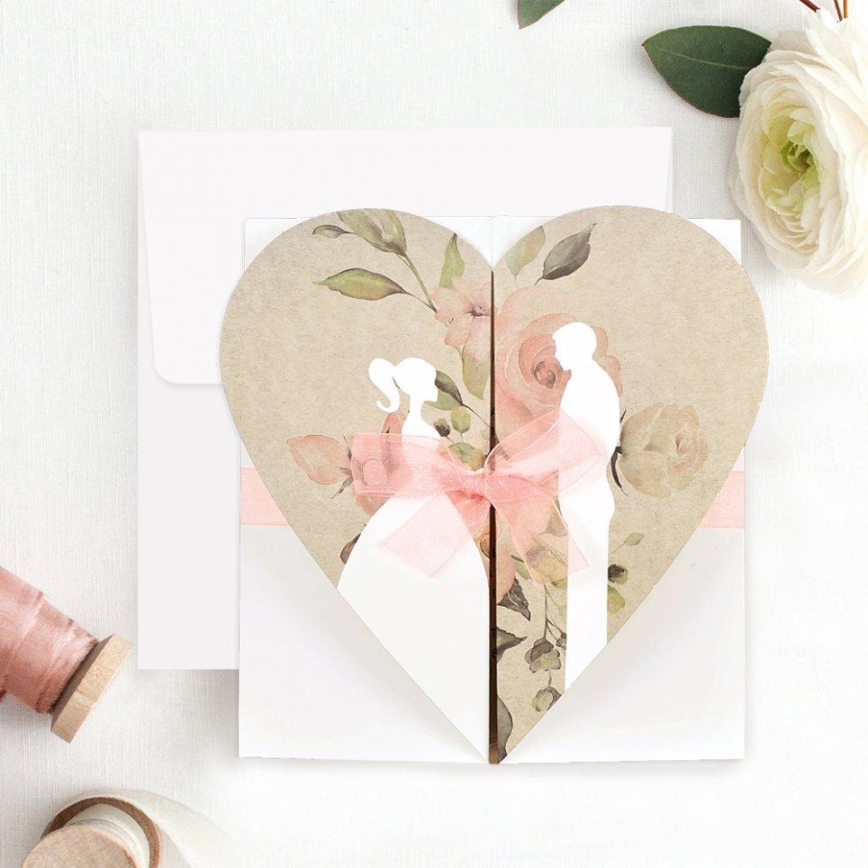 Invito a nozze sposa e sposo con cuore, Cardnovel 39705