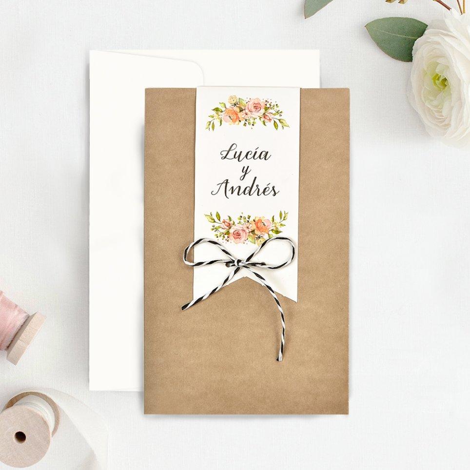 Invitación de boda flores y foto, Cardnovel 39732