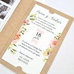 Hochzeitseinladung Blumen und Foto, Cardnovel 39732