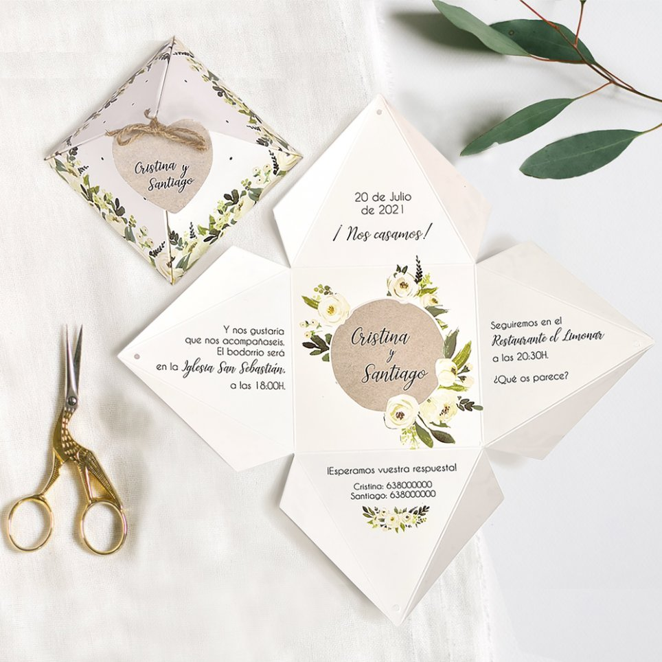 Invitación de boda caja y flores, Cardnovel 39734