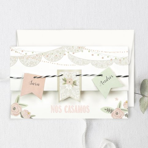 Hochzeitseinladungsfahne, Cardnovel 39730
