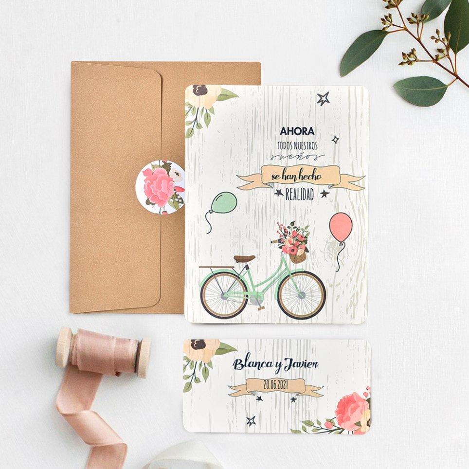 Invitación de boda globos y bicicleta, Cardnovel 39737