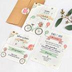 Hochzeitseinladungsballons und Fahrrad, Cardnovel 39737