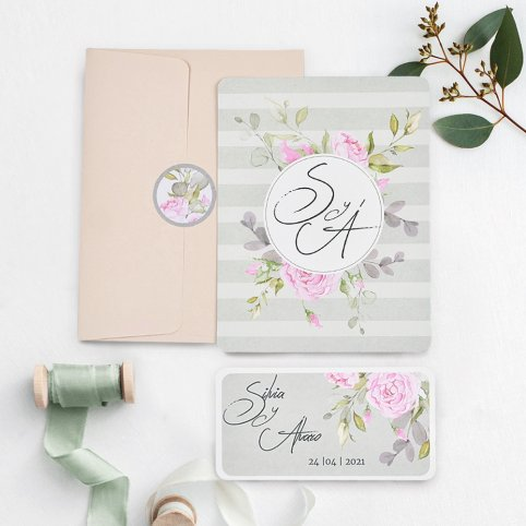 Invitación de boda iniciales con flores, Cardnovel 39740