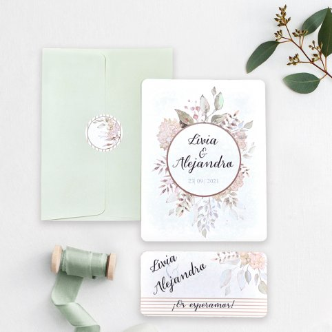 Circle Flowers Wedding Invitation, Cardnovel 39742