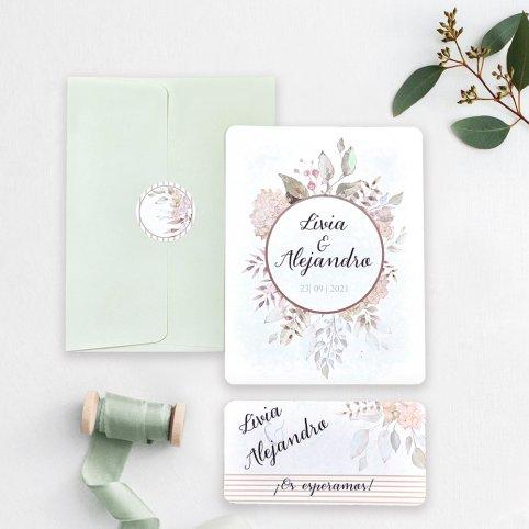 Hochzeitseinladungsblumen im Kreis, Cardnovel 39742