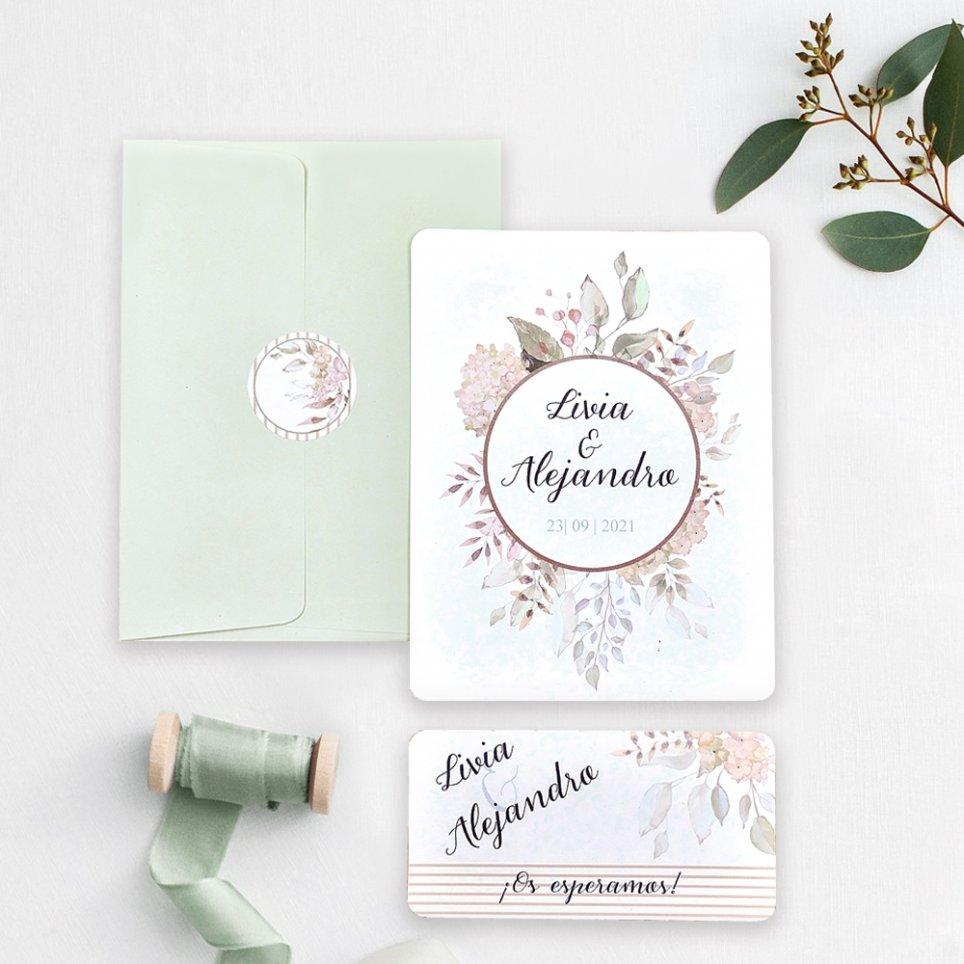 Invitación de boda flores en círculo, Cardnovel 39742