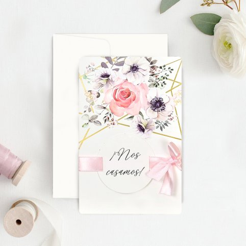 Invitación de boda rosas y oro, Cardnovel 39723