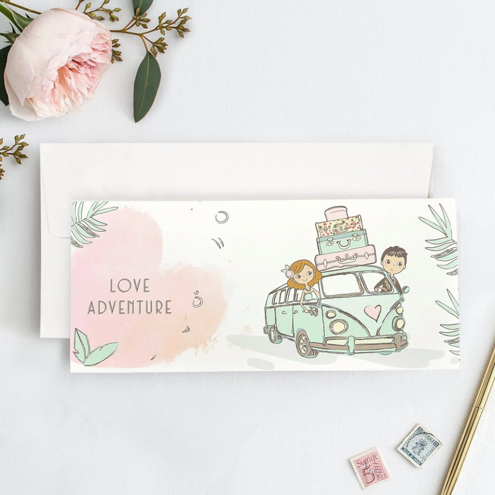 Invitación de boda Love Adventure, Cardnovel 39739